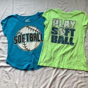Bundle - 2 Girls Justice Softball T-shirts Size 14